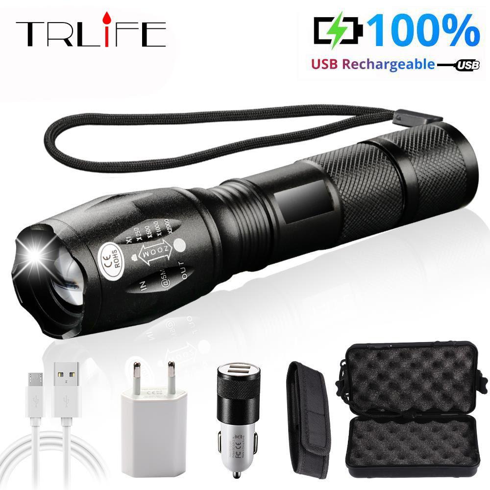 20000lums LED usb lampe de poche lanterne LED L2/T6 torche tactique Zoom puissance zaklamp lampes de poche rechargeables avec batterie 2400mAh