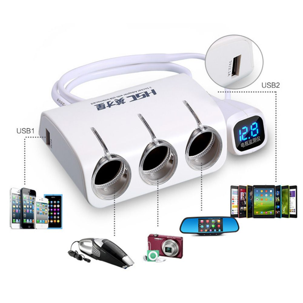 HSC New 3 Sockets Way Car Auto Cigarette Lighter / Splitter Power Adapter Dual 2 USB Car Charger for iphone / Car DVR GPS