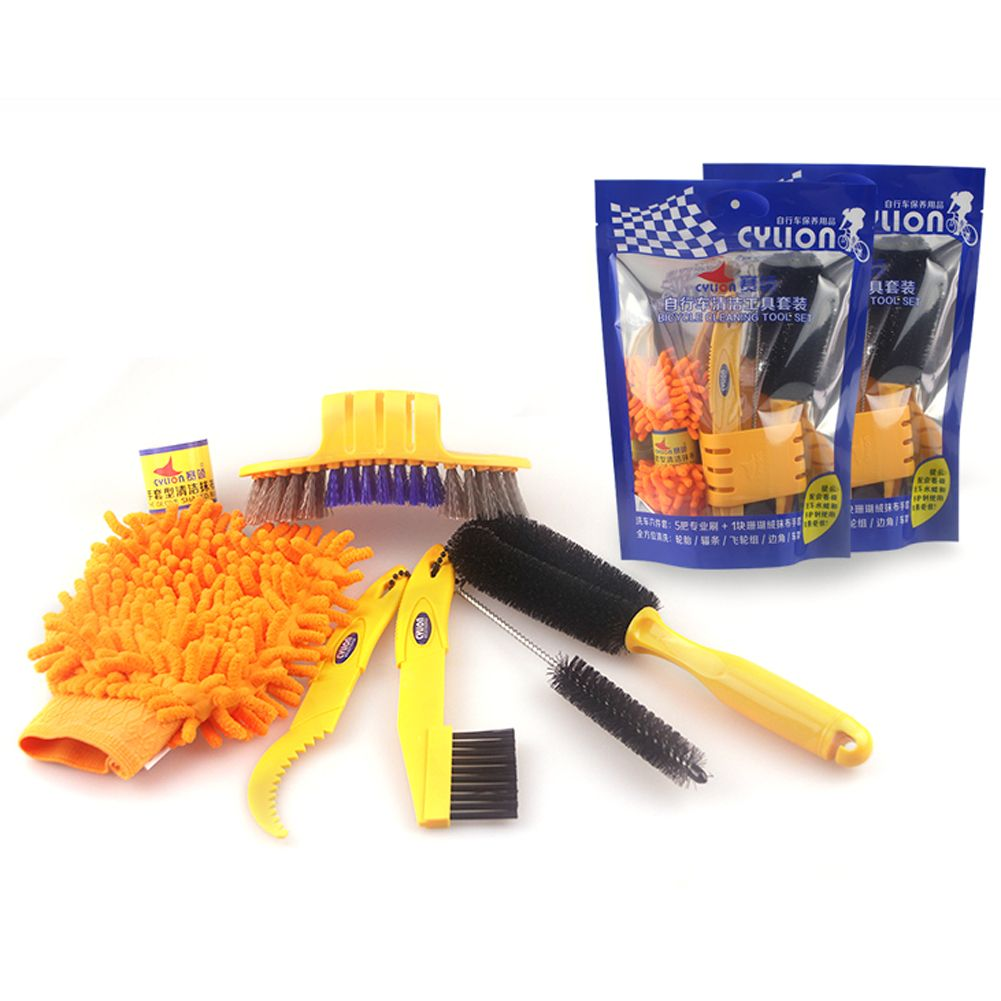 6pcs/lot Bicycle Chain Cleaner Cycling Tire Brushes Portable MTB Road Bike Cleaning Tool Set Bicycle Cleaning Gloves Tyre Kits