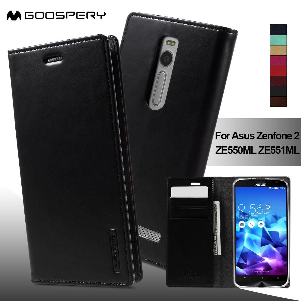 MERCURY GOOSPERY coque fundas capa for Asus Zenfone 2 ZE551ML Leather Bag Leather Wallet Case for Asus Zenfone 2 ZE550ML 5.5inch