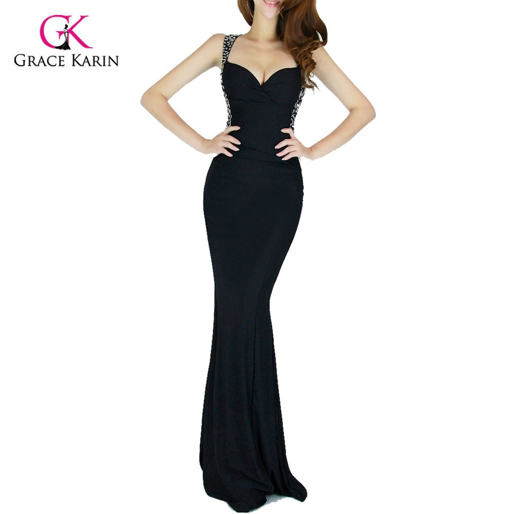 Evening Dress Grace Karin 2017 Women cheap Backless Blue Red Slim-line Sexy Bodycon Party Long Black Formal Gown Mermaid Dresses