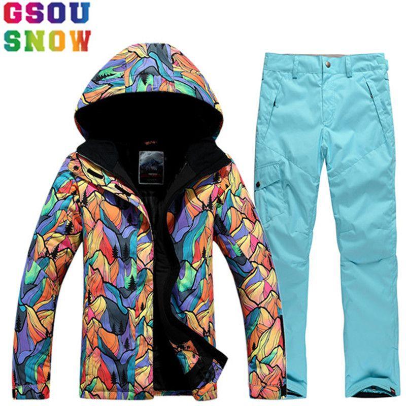 Marke GSOU SCHNEE Ski Anzug Frauen Ski Jacke Hosen Winter Im Freien Wasserdichte Günstige Skifahren Anzug Weibliche Snowboard Sets Sport Kleidung