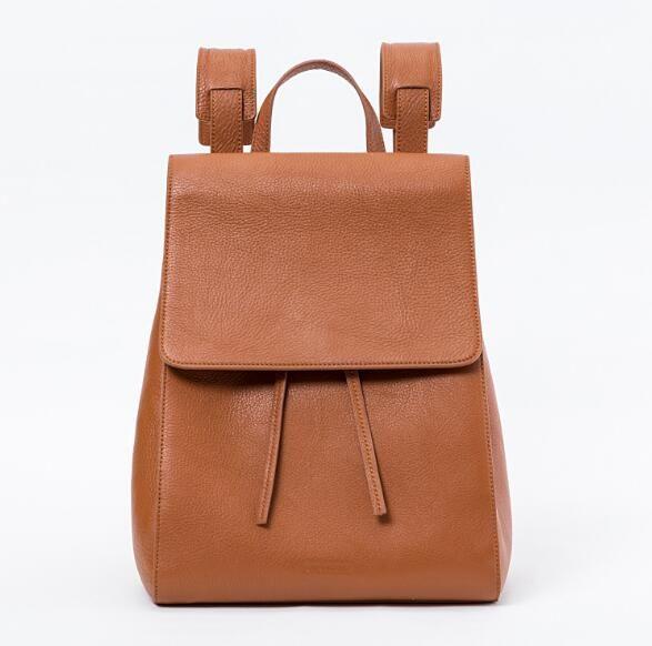 Genuine leather+canvas women casual backpack school rucksack bag