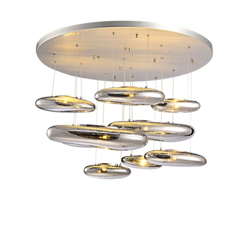 GZMJ Wonderland Water Drops Silver Glass Stone LED Pendant Lamp New Indoor Home Lighting Decoration Luxury Pendant Light Shade