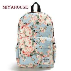 Miyahouse Fresh Style Women Backpacks Floral Print Bookbags Canvas Backpack School Bag For Girls Rucksack Female Travel Backpack