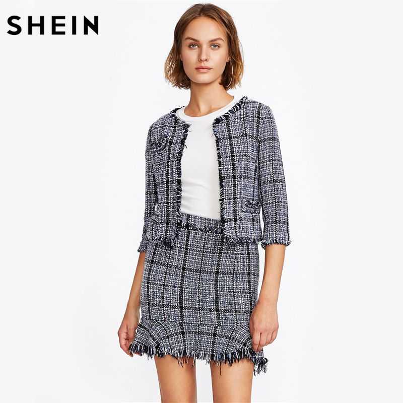 SHEIN Royal Blue Three Quarter Length Sleeve Frayed Tweed Blazer and Bodcon Skirt Suit Set Fall Women Two Piece Outfits