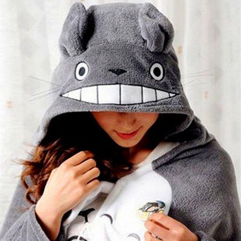Anime Cosplay Totoro Lovely Plush Soft Cloak Totoro Cape Cat Cartoon Cloak Coral Fleece Air Blankets Birthday Valentine Gifts