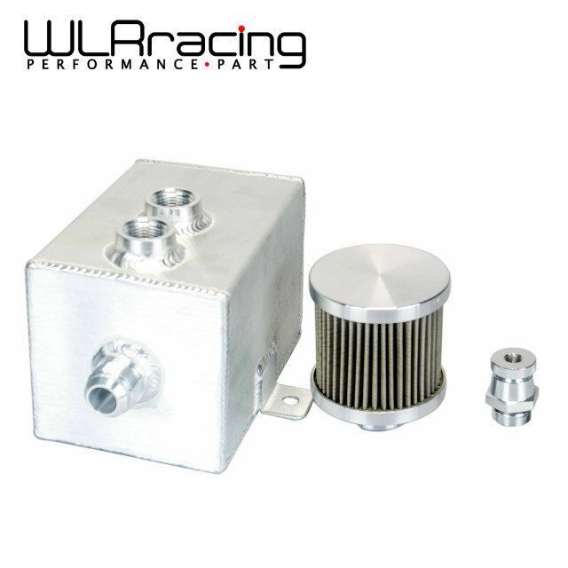 WLR RACING - 1L Aluminum oil catch can tank with breather & drain tap 1LT baffled Natural Finish WLR9491