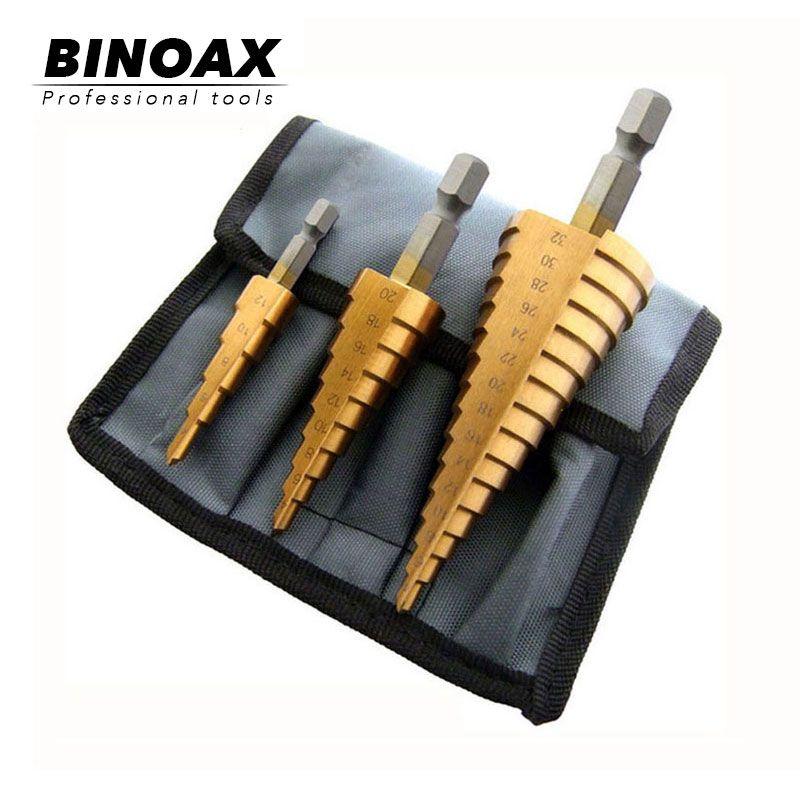BINOAX 3 pièces Metric Spirale Flûte Étape HSS Acier 4241 Cône Titane Enduit Forets Ensemble D'outils Trou Cutter 4-12/20/32mm + Pochette