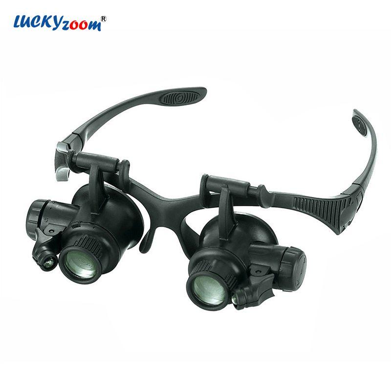 Luckyzoom Stirnband 10X 15X 20X 25X Gläser Lupe Lupe Mit Led-leuchten Beleuchtet Lupe Lupe Uhr Reparatur