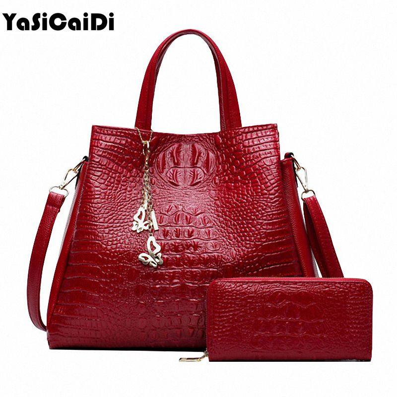 Fashion PU Leather Women Crocodile Pattern Messenger bags Two Set Purse and Handbags Butterfly Tassel <font><b>Leisure</b></font> Tote Sac A Main