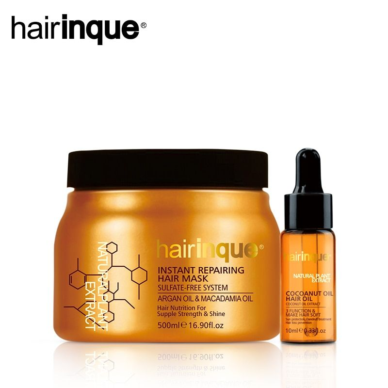 HAIRINQUE Sulfate-free system instant repairing hair mask Argan oil and Macadamia nut oil & 10ml Coconut Oil Hair Care Set