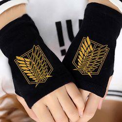 Аниме атака на Титанов палец Хлопок Вязание наручные перчатки варежки любителей аниме аксессуары косплей без пальцев подарок Горячая Мода