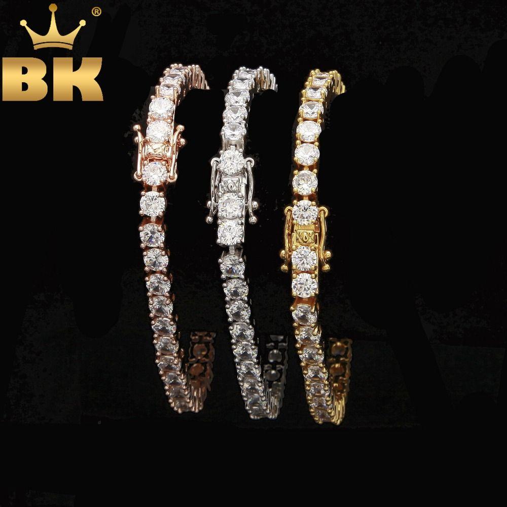 Bracelet de Tennis coupe ronde 5mm zircone Triple serrure Hiphop bijoux 1 rangée cubique de luxe cristal CZ hommes mode bracelets porte-bonheur