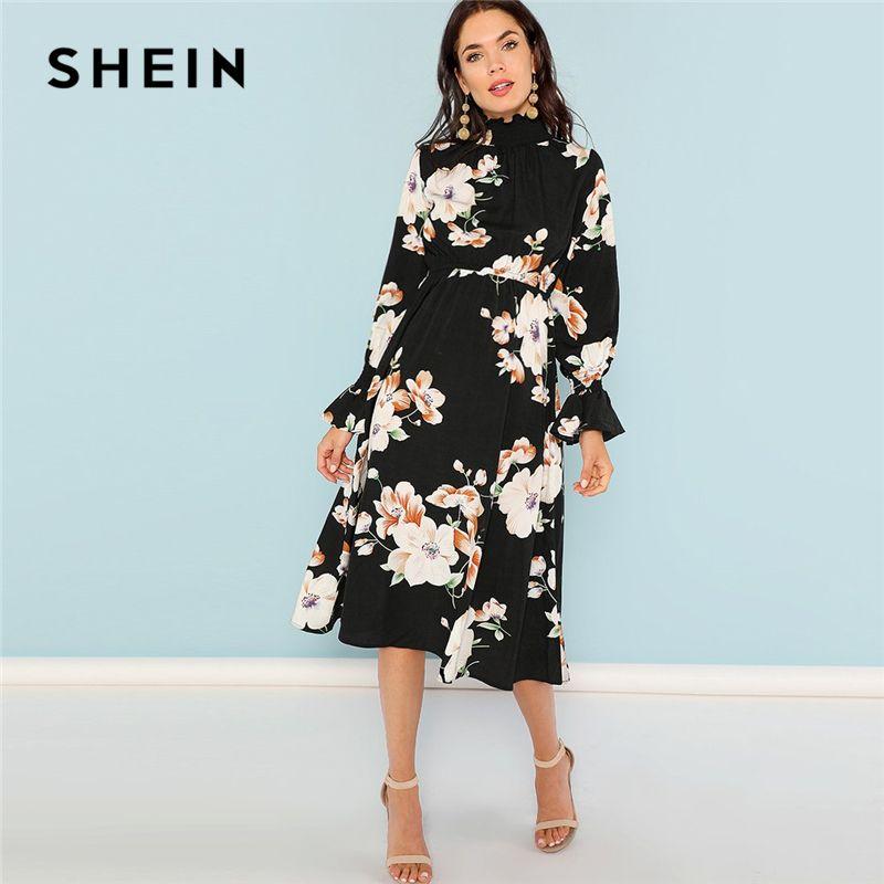 SHEIN Black Print Mock Neck Pleated Panel Floral Dress Elegant Ruffle Streetwear Trip High Waist Women Autumn Dresses