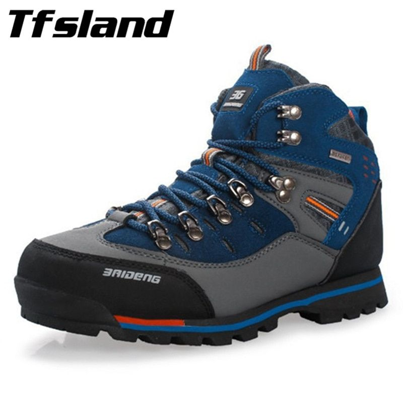 Tfsland Men Waterproof Genuine Leather Outdoor Hiking Shoes New Male Sport Shoes Trekking Mountain Climbing Suede Boots Sneakers