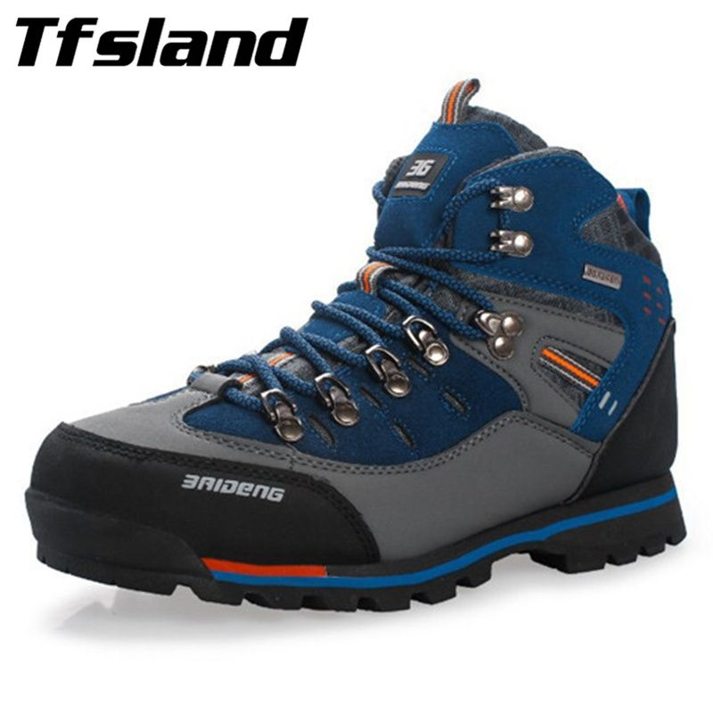 Tfsland Men Waterproof Genuine Leather Outdoor Hiking Shoes New <font><b>Male</b></font> Sport Shoes Trekking Mountain Climbing Suede Boots Sneakers