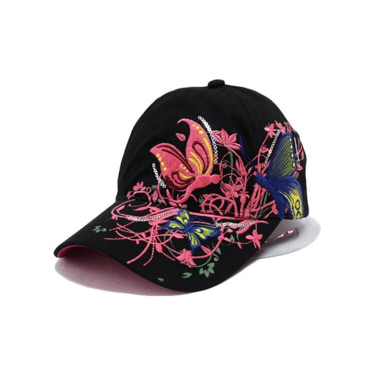 Butterfly embroidered baseball hat summer lady baseball cap outdoor duck tongue sport hat.