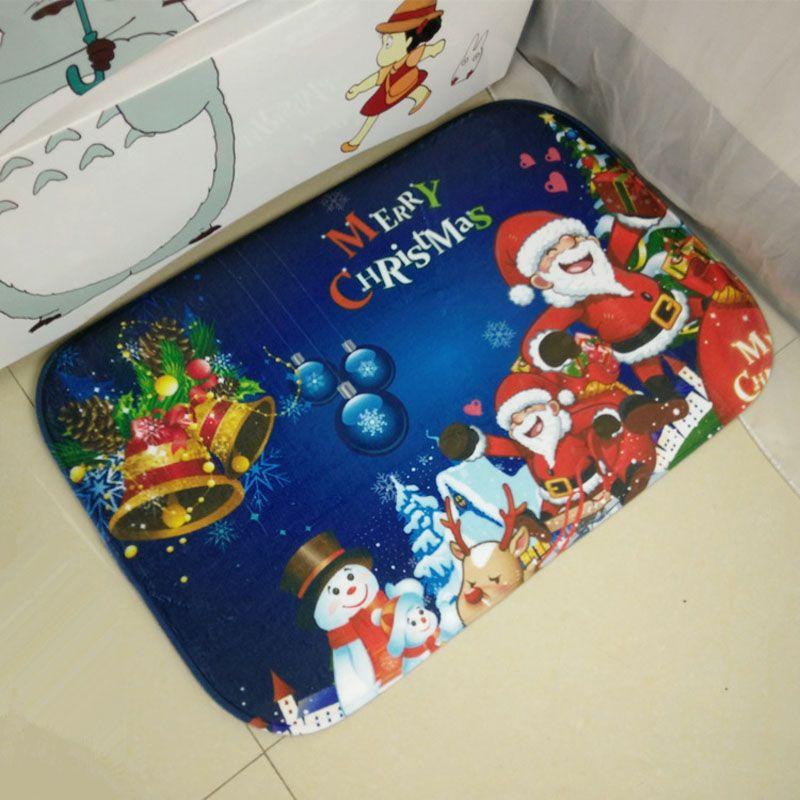 Hot Santa Claus Carpet Christmas Gift Merry Bells Livingroom Kitchen Mats Floor Bathroom Area Rug Non-slip Pad Animation Doormat