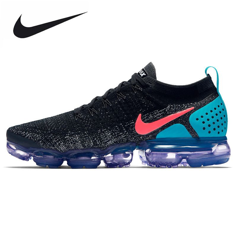 NIKE AIR VAPORMAX FLYKNIT Men's Running Shoes, Black & Powder, Shock Absorbing Non-Slip Abrasion Resistant Breathable 942843 003