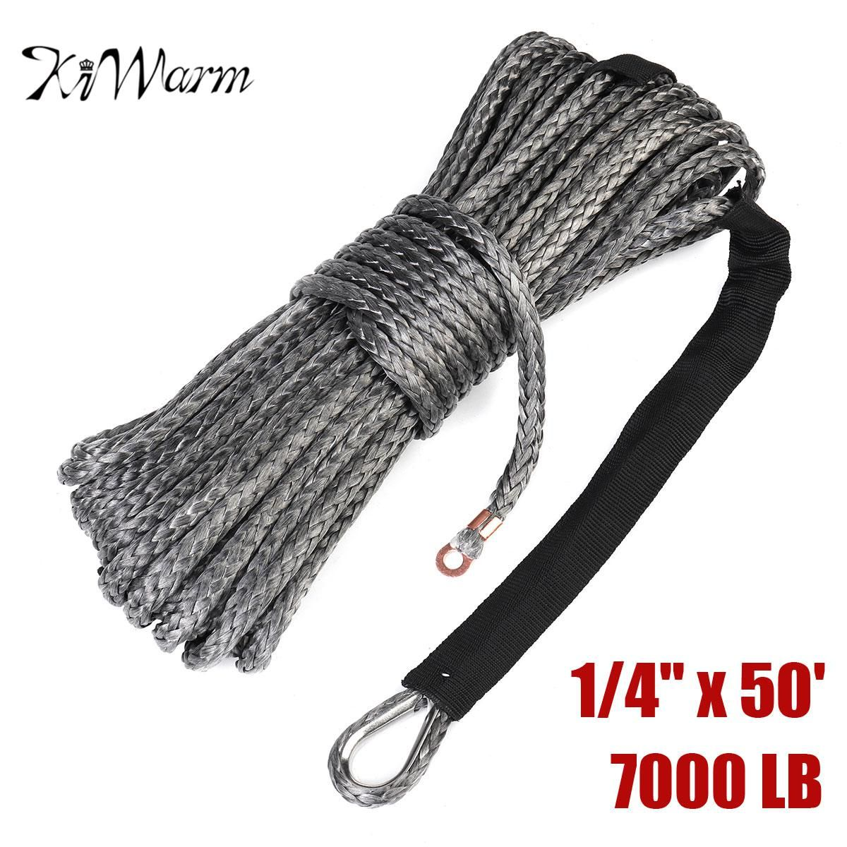 KiWarm 1pcs Durable 6mm*15M 7000lbs Black Synthetic Winch Rope Cable Line With Hook for ATV UTV Off-Road