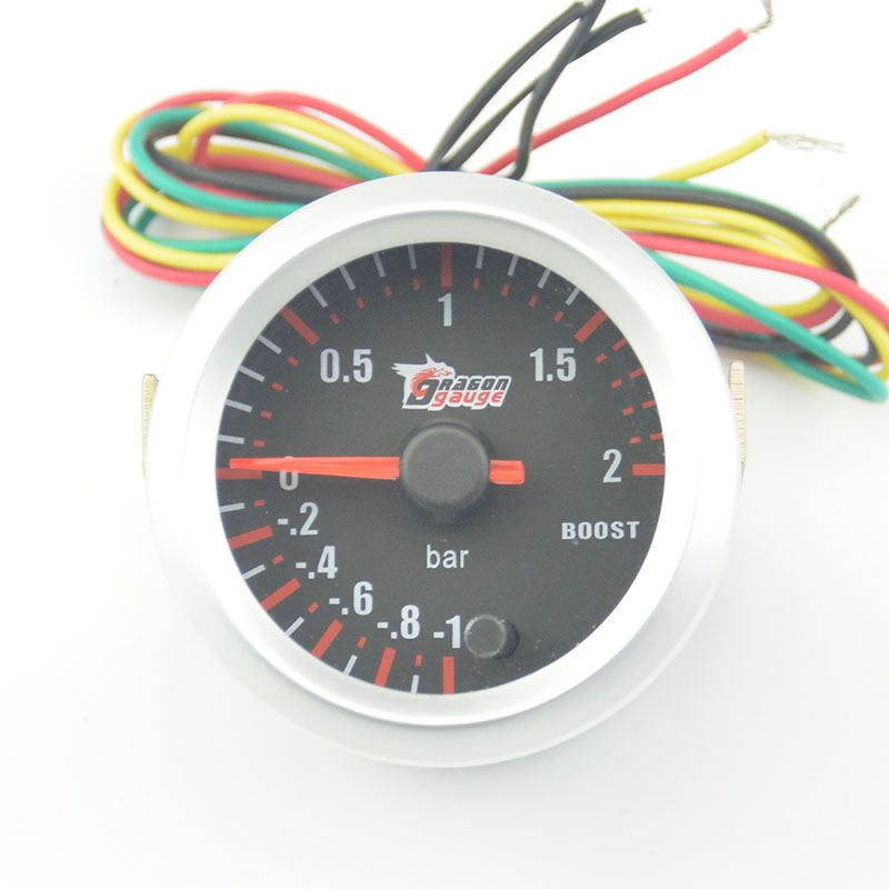 52mm car turbine pressure Detect 7 Color Blacklight Auto  BOost gauge Turbo Meter -1~2 Bar  free shipping