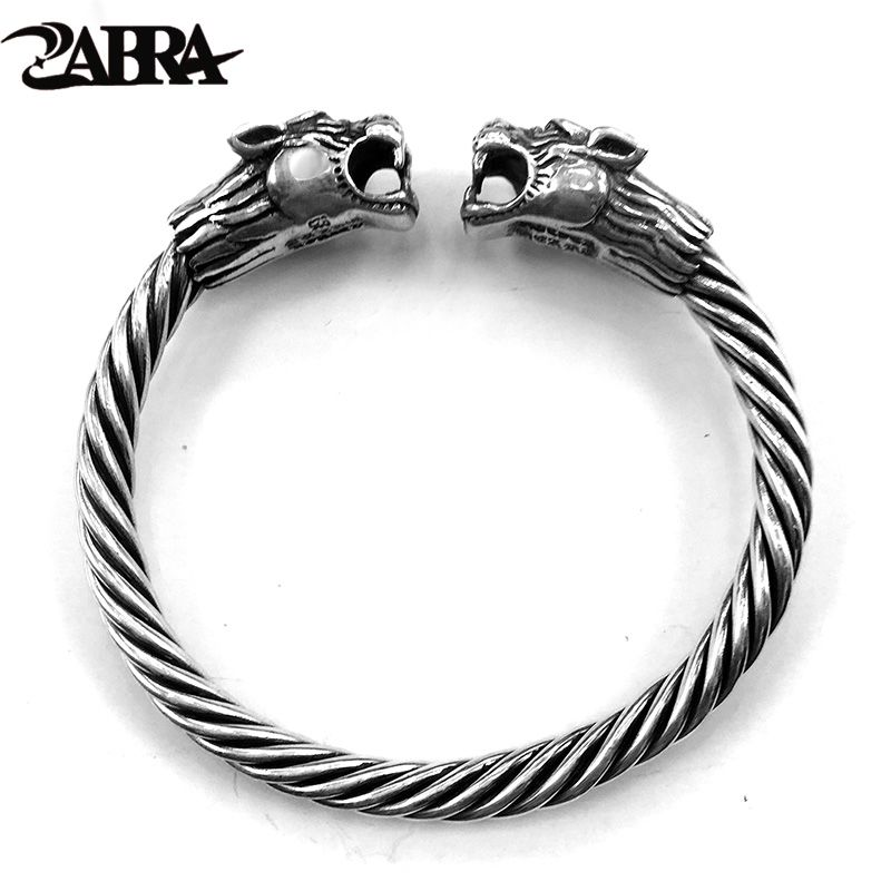 ZABRA Solid 925 Sterling Silver 2 Tigers 6mm Screw Open Cuff Bracelet Men Viking Bangle Vintage Punk Rock Thai Silver Jewelry