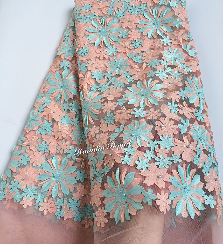 Peach aqua Beaded Floral French lace African tulle lace fabric with sequins 6240 5 yards/PC High quality Hot sale