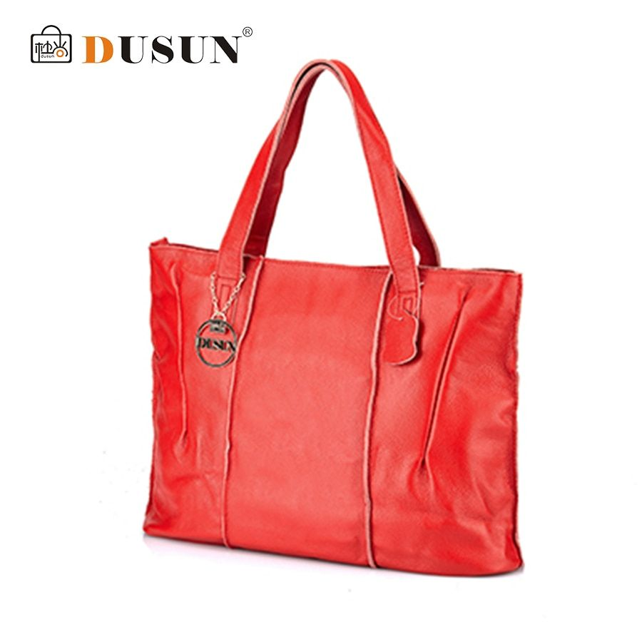 DUSUN Casual Tote Bags Women fFemale Large Shoulder Messenger Bags High Quality Genuine Leather Handbag With Thread Zipper Bolsa