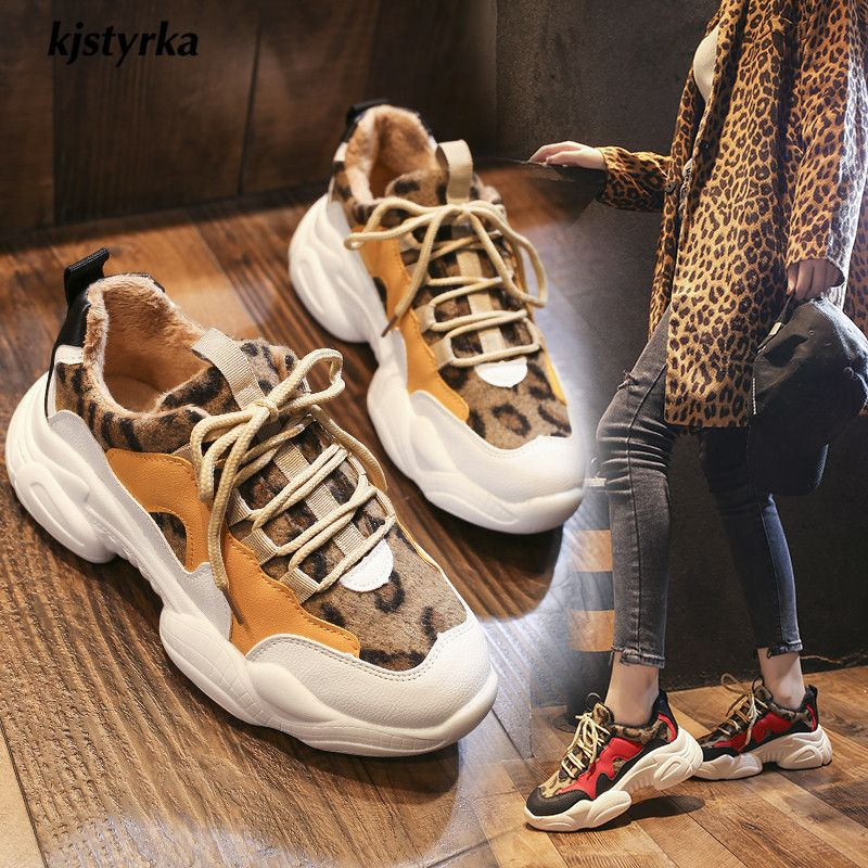 Kjstyrka 2018 new leopard mixed colors plush Fashion high quality women sneakers winter tenis feminino ladies wedges espadrilles