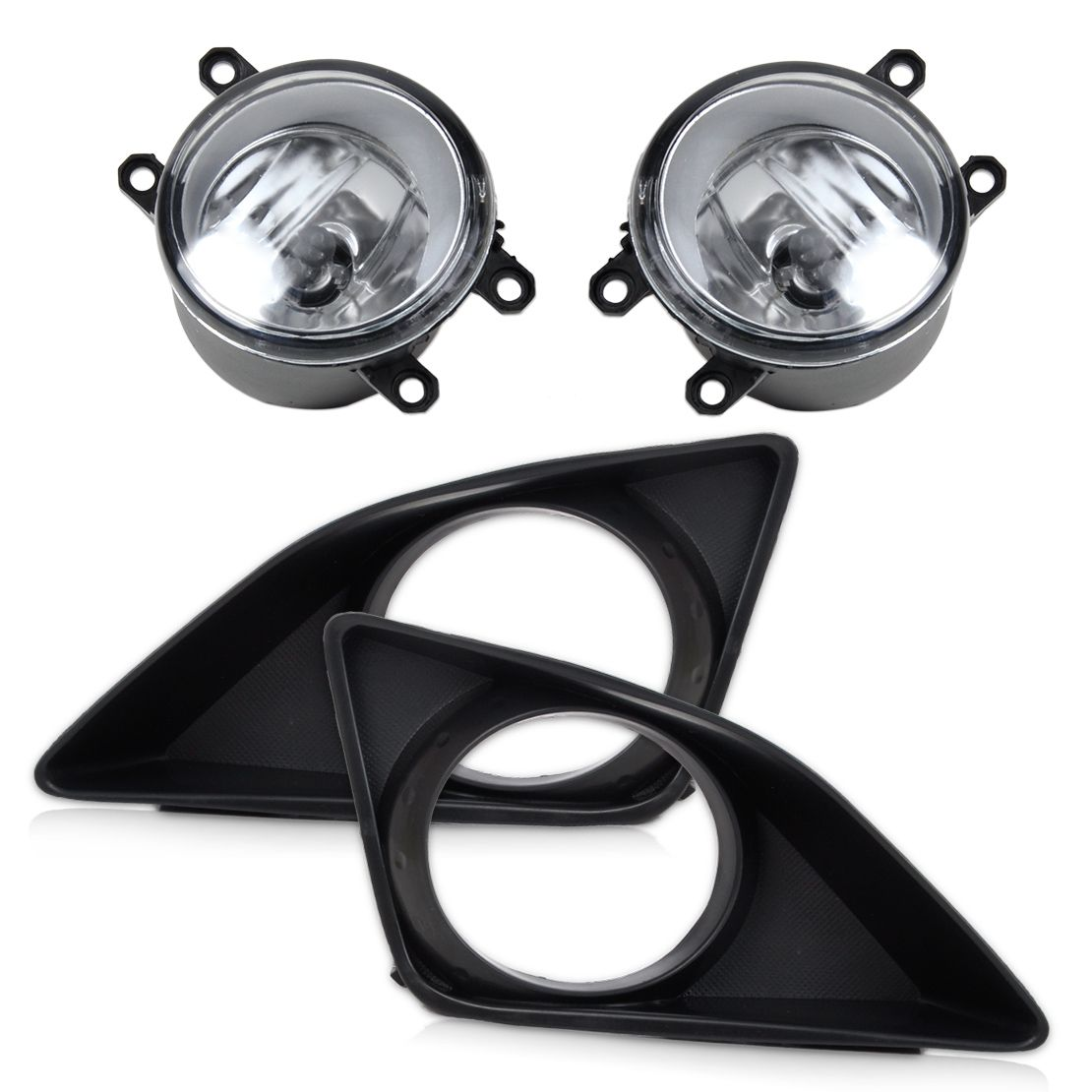 CITALL 4Pcs Front Right Left Fog Light Lamp + Grille Cover Bezel for Toyota Corolla 2007 2008 2009 2010
