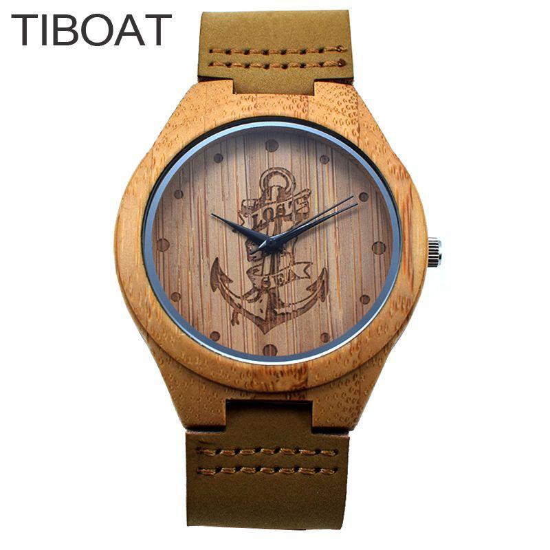 Tiboat Lost море Крепления Дизайн Bamboo Часы Японии Кварц Деревянные Наручные часы Пояса из натуральной кожи Для мужчин Для женщин luxulry Часы