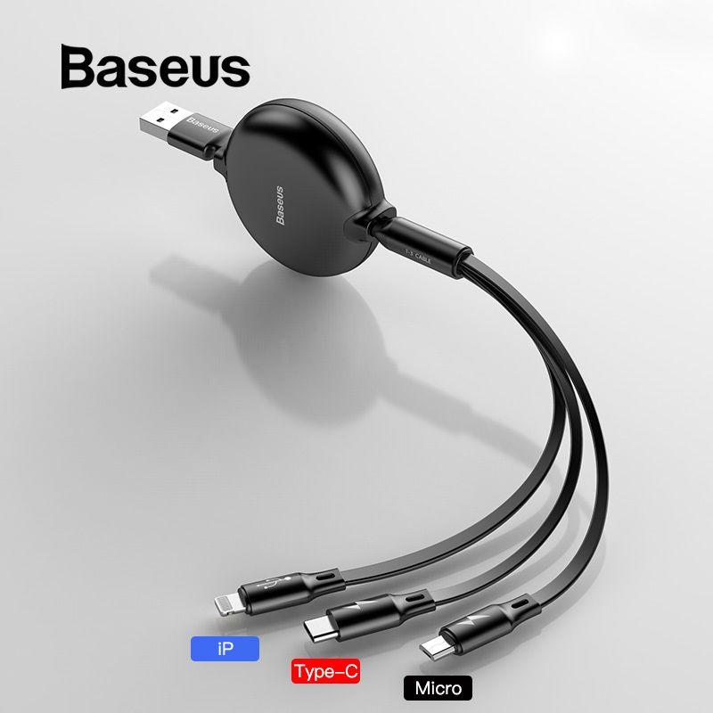 Baseus 3 in 1 Retractable USB Cable for iPhone Xs Max XR Xs Fast Charging USB Type C for Samsung S8 S9Plus Micro USB Data Line