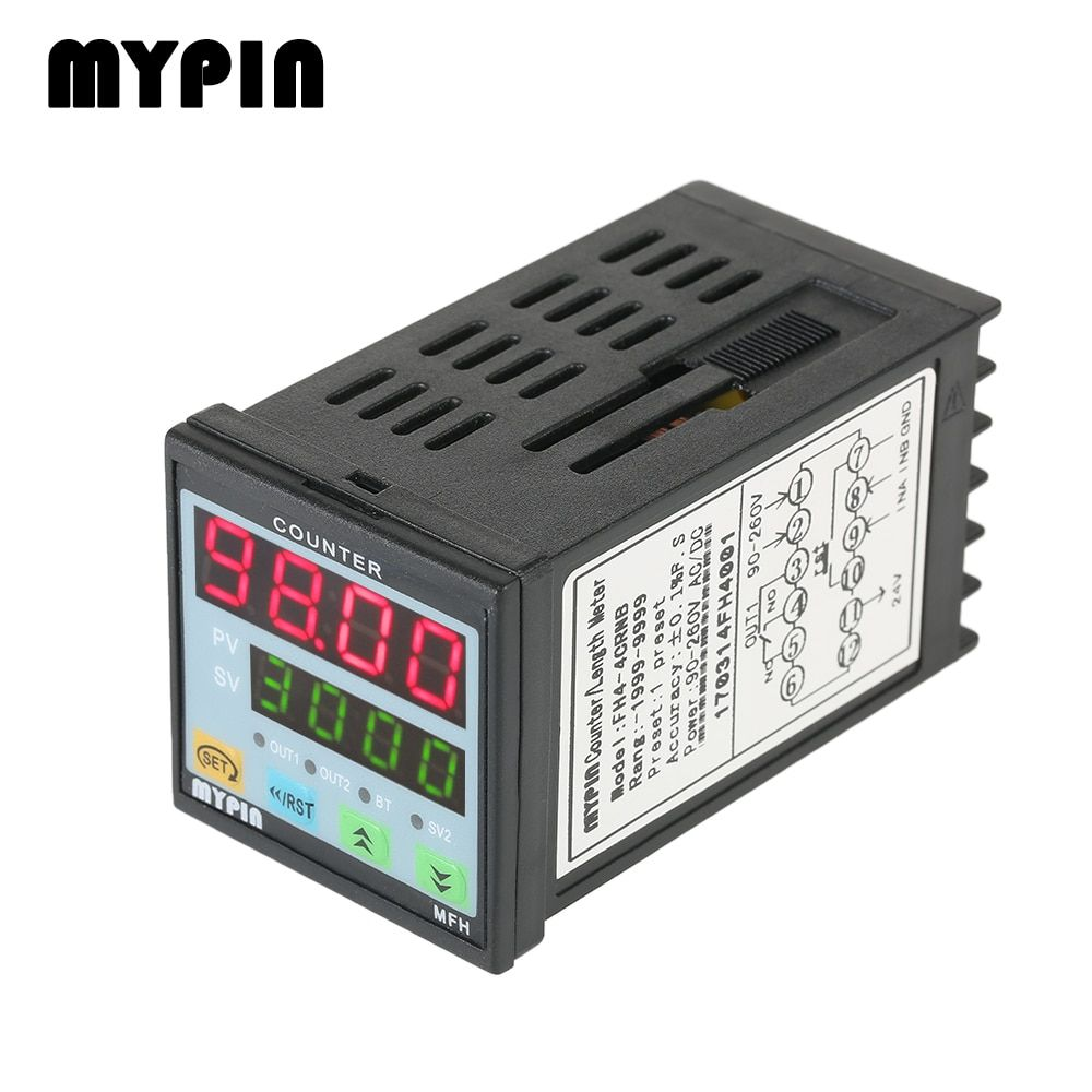 MYPIN 4 Digital Counter Length Counter Length Meter Multi-functional Intelligent 90-260V AC/DC Preset Relay Output PNP NPN