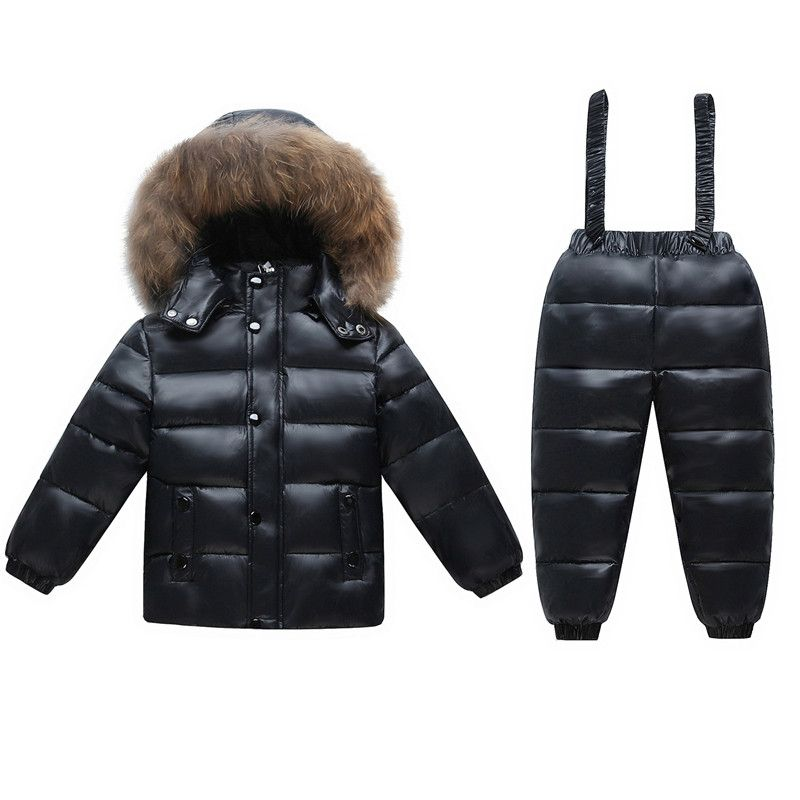 2018 Kids Ski Suit Baby Snow Wear Clothes Children Clothing Set Boys Girls Snowsuit Thick Duck Down Coat Fur Collar+Overall Park