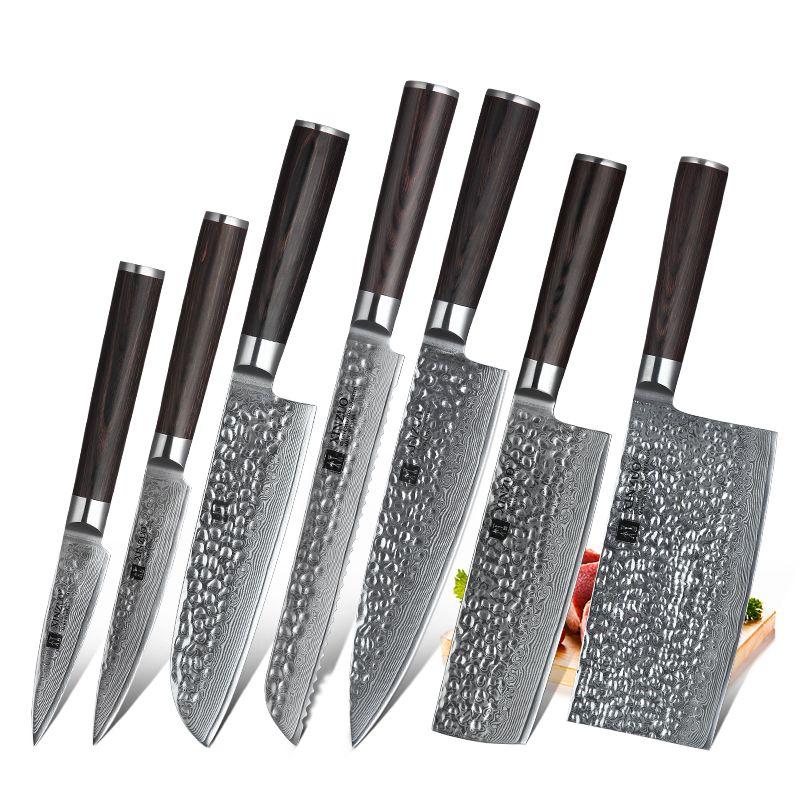 7 PCS Küchenmesser Set VG10 Damaskus Stahl Hohe Carbon Super Scharfe Klinge Fleisch Gemüse Küche Zubehör Pakkawood Griff