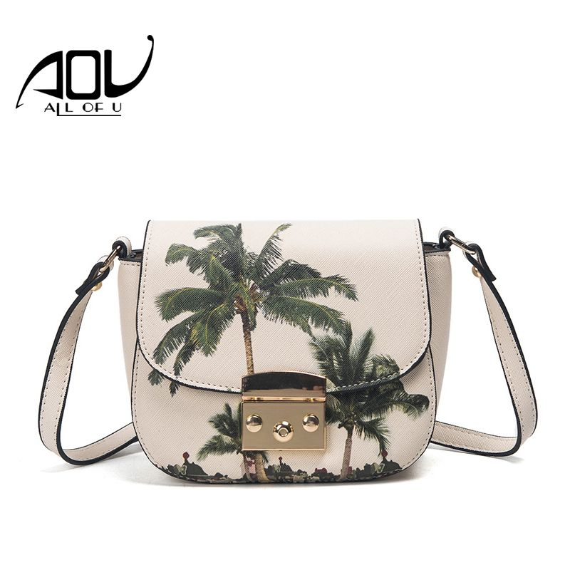 AOU 2017 Brand Small Crossbody Bags for Girls PU Leather Messenger Bag Women Soft Printing Flowers Bag Single Shoulder Bags Flap