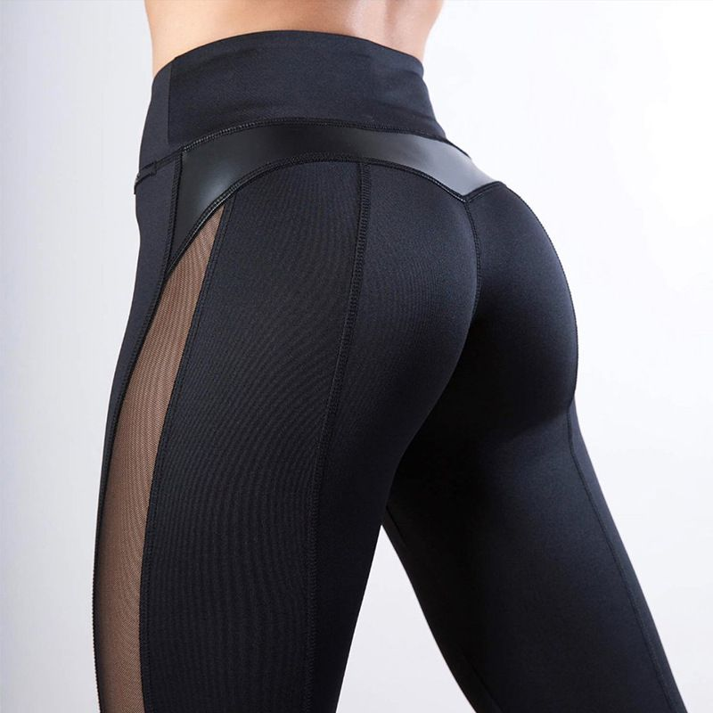 CHRLEISURE Mode Leggings en maille Femmes jambières de remise en forme PU pantalon en cuir leggins Coeur Workout Leggings Femme Leggings
