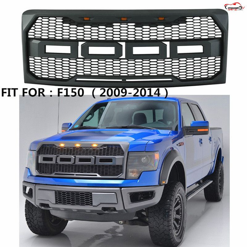 CITYCARAUTO front Racing F-150 grill grille ABS black front trim Replacement Grill Raptor Style with led fit for F150 2009-2014