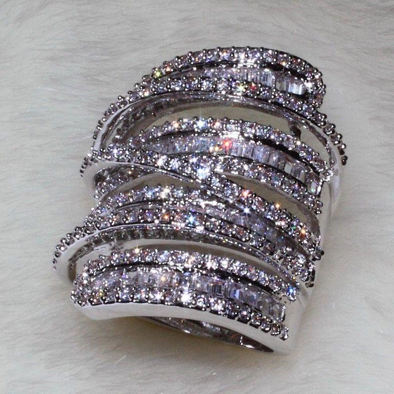 Choucong Для женщин Для мужчин модные кольцо широкий ювелирные изделия 20ct AAAAA Циркон CZ стерлингового серебра 925 Обручение обручальное кольцо