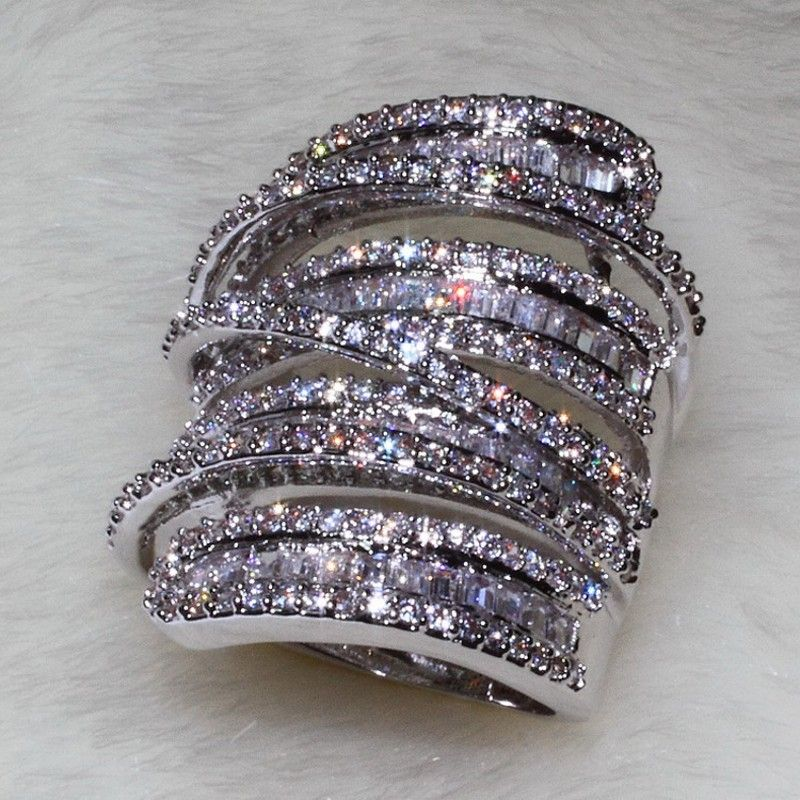 Choucong Mujeres Hombres anillo de La Manera Amplia Joyería 20ct AAAAA zircon cz Engagement Wedding Band Anillo de Plata Esterlina 925