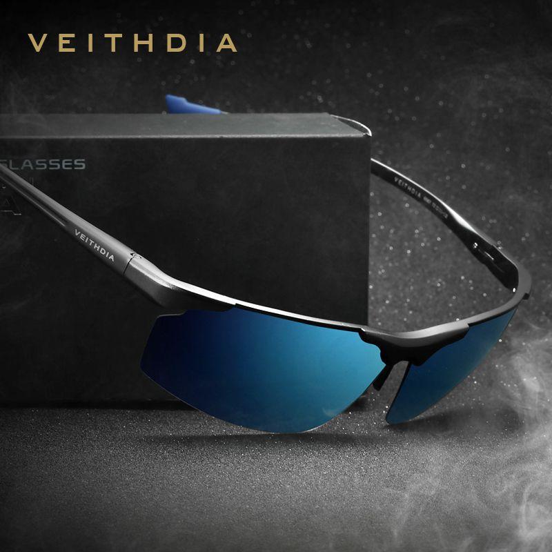 Aluminum Magnesium Rimless Men's Sunglasses Polarized UV400 Sun <font><b>Glasses</b></font> Eyewear Accessories For Men Blue Coating Mirror 6587