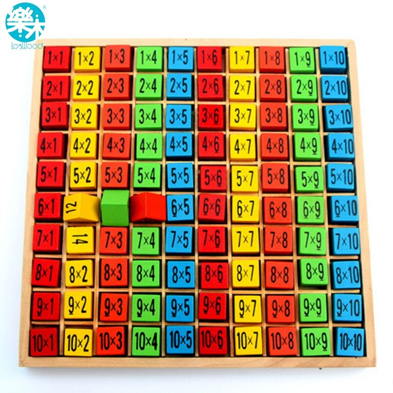 Baby wooden Toys 99 Multiplication Table Math Toy 10*10 Figure Blocks Baby <font><b>learn</b></font> Educational montessori gifts free shipping