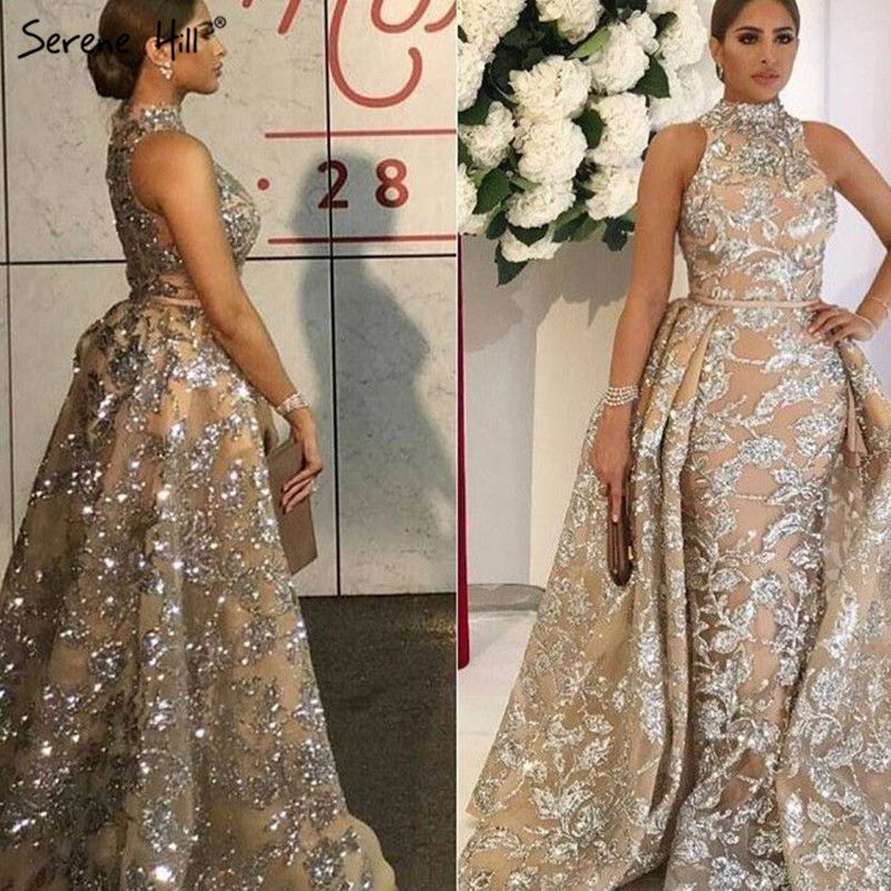 Long Crystal Mermaid Formal Evening Prom Party Gown Dress Fashion With Train Evening Dresses 2018 BLA6085