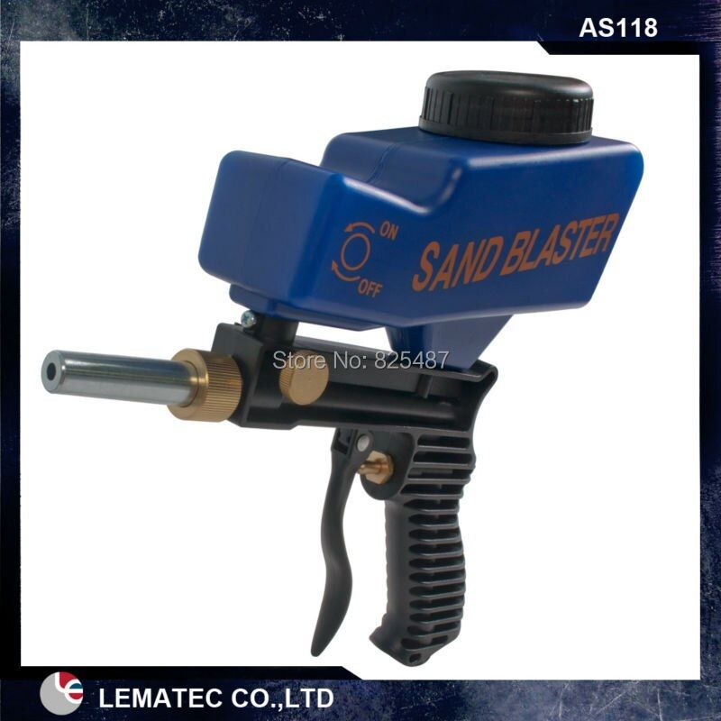 LEMATEC Gravity Feed Portable Pneumatic Abrasive Sand Blaster Gun with Spare Blaster Tip Hand Held Sandblasting gun