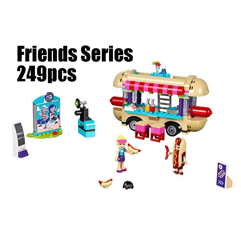 Compatible with Lego Friends 41129 01007 249pcs building blocks Amusement Park Hot Dog Van Bricks Figure toys for children