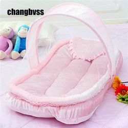 Mewah Tempat Tidur Bayi Kelambu Set Bayi Tempat Tidur Kelambu Kelambu Bayi Seprai Biru/Pink Bantal Kasur + Bantal maio Infantil