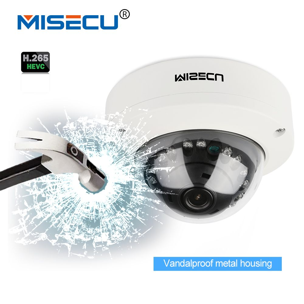 MISECU <font><b>2.8mm</b></font> Vandalproof H265/H264 48V POE Camera 1080P 960P 720P Onvif P2P Motion Detect RTSP email alert Metal POE dome camera