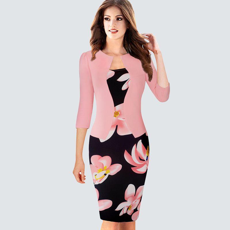 Une pièce fausse veste femmes Plaid bureau robe femme automne hiver Vintage tenues dame moulante crayon ajusté robes HB237