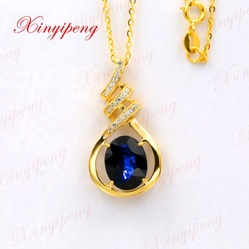 Xin yi peng 18 k yellow gold inlaid natural sapphire necklace 8 * 10 women's necklace style and generous